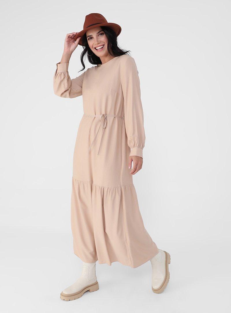Alia Bej Büyük Beden Viskon Karışımlı Rahat Elbise