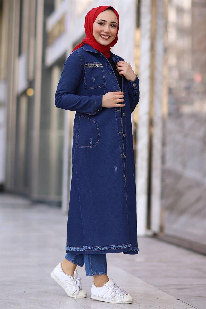 In Style Mavi Cepleri Pul Detaylı Uzun Kot Ceket