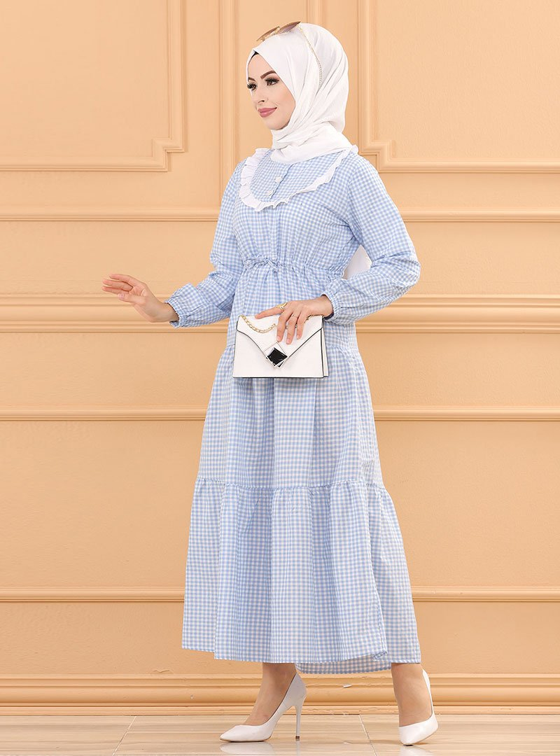Tofisa Bebe Mavi Ekoseli Elbise
