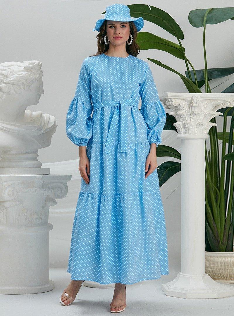 EBRAR Mavi Şapkalı Puantiyeli Elbise