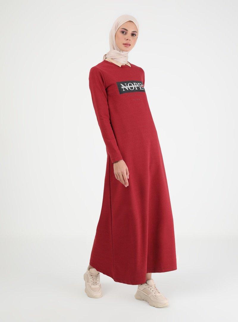 Muni Muni Bordo Baskılı Elbise