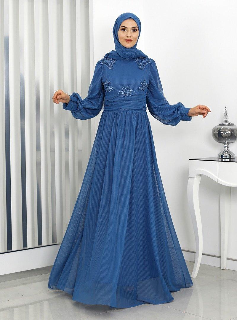Rana Zenn İndigo Tülin Tül Abiye Elbise