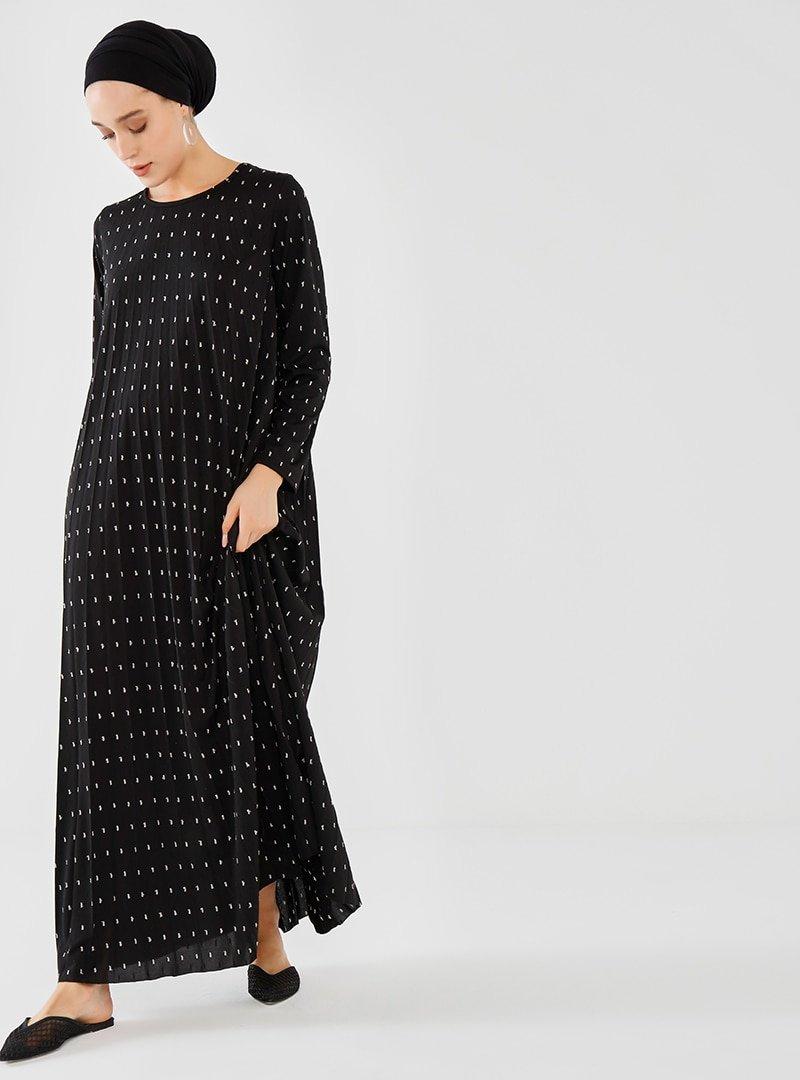 Phull Siyah Piliseli Elbise