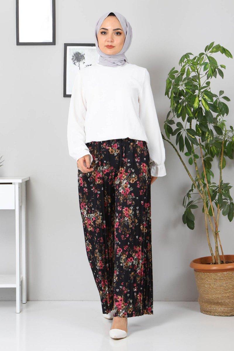 MISSVALLE Siyah Çiçekli Piliseli Pantolon