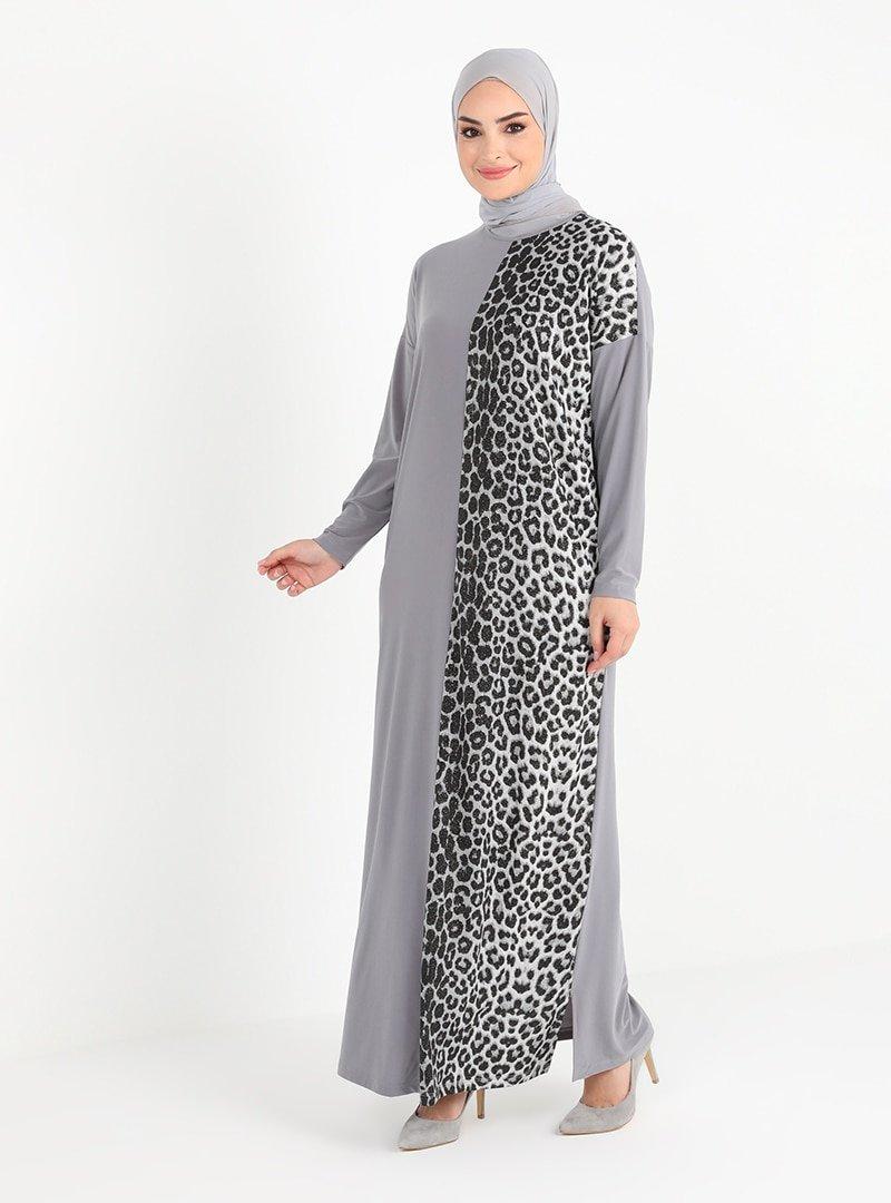 Tavin Gri Leopar Desenli Elbise