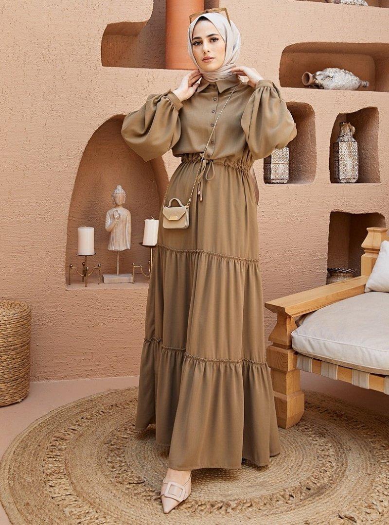 Neways Vizon Beli Bağcıklı Elbise