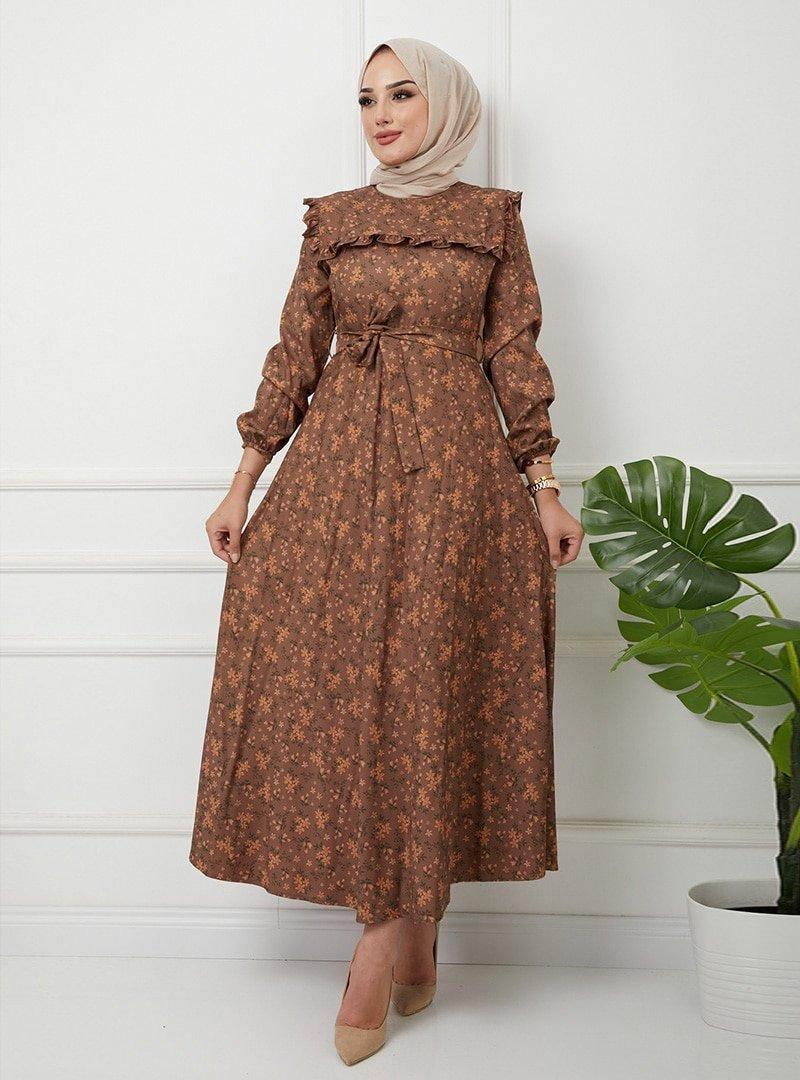 Olcay Vizon Robave Kolu Fırfır Detaylı Çiçekli Elbise