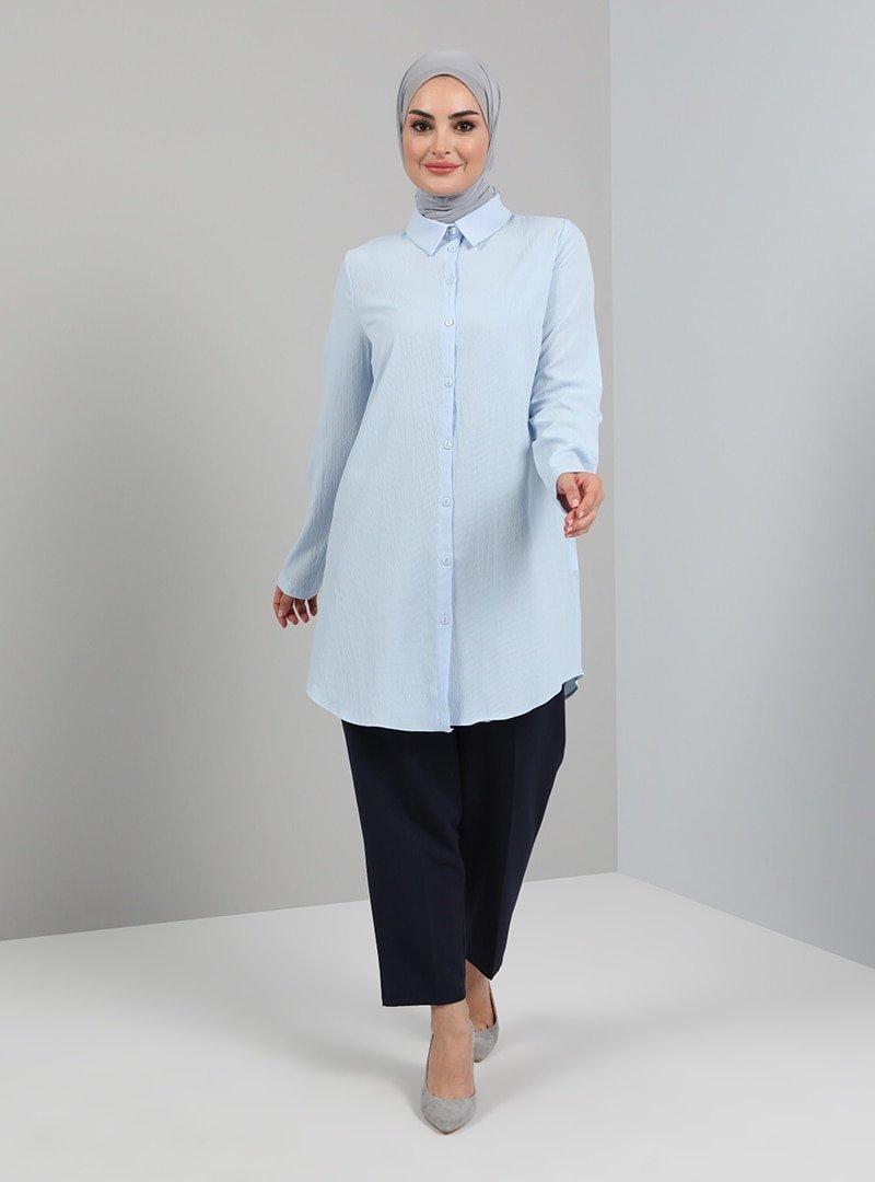 Tavin Mavi Düğmeli Gömlek Tunik