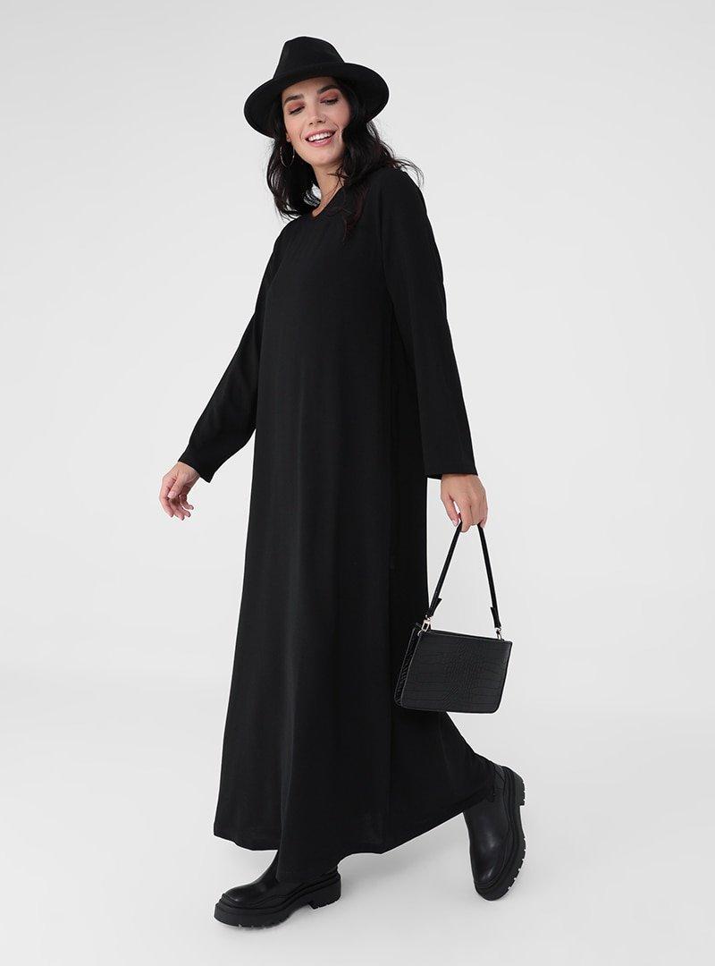 Alia Siyah Büyük Beden Basic Örme Elbise