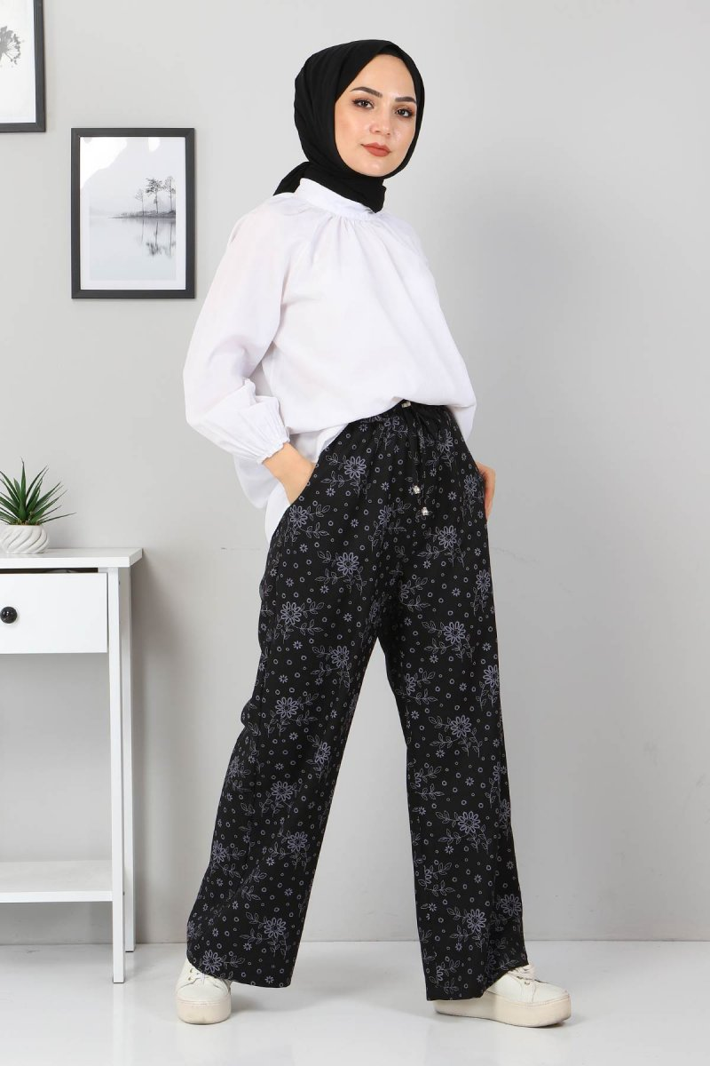 MISSVALLE Siyah Beli Lastikli Çiçekli Pantolon