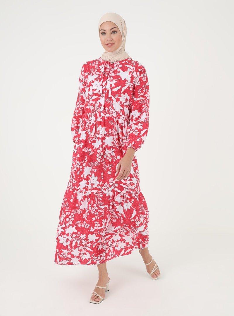 İLMEK TRİKO Kırmızı Desenli Düğme Detaylı Elbise