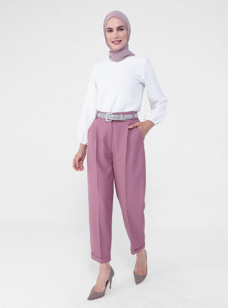 Refka Vişne Duble Paça Klasik Pantolon