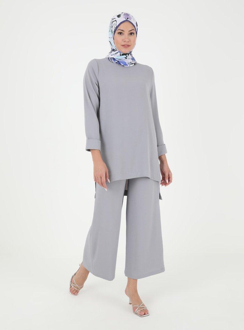 Tekbir Koyu Gri Tunik & Pantolon İkili Takım