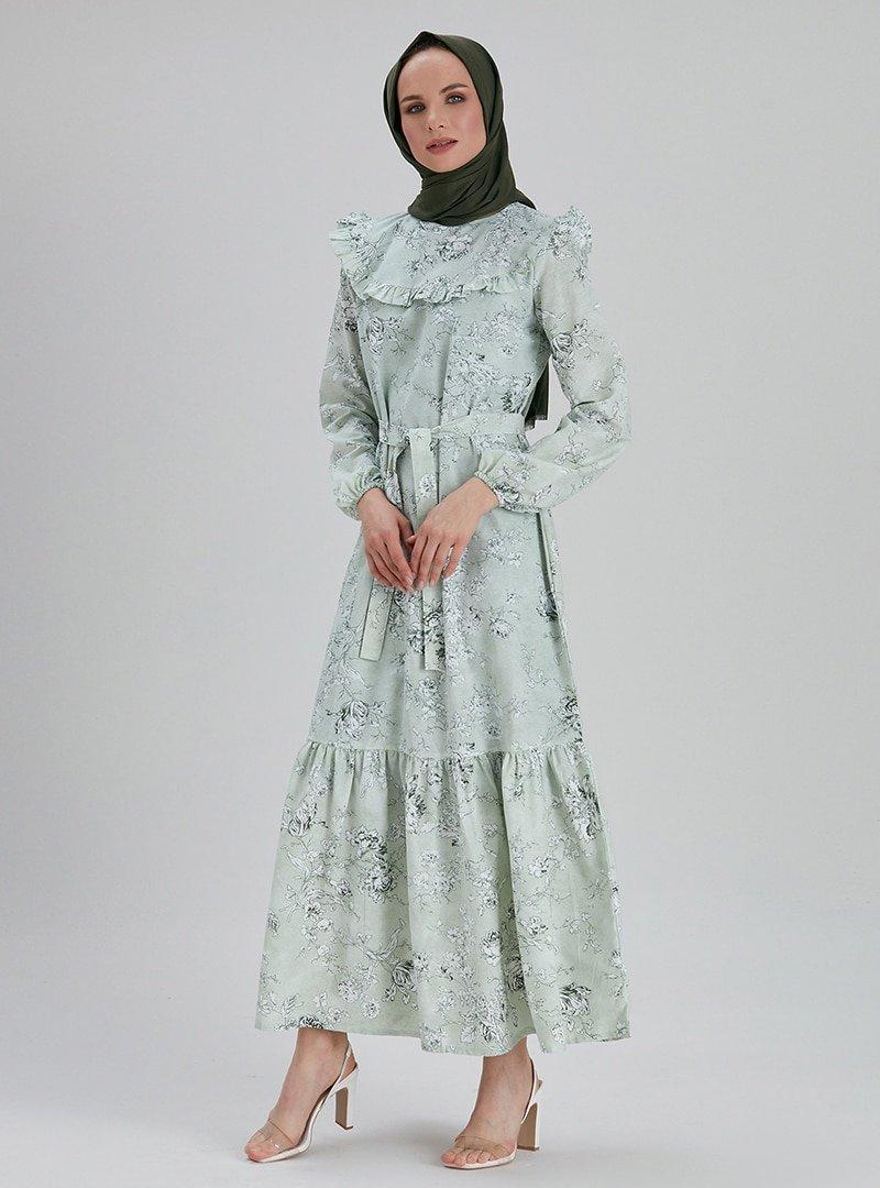 EBRAR Yeşil Beyaz Çiçek Desenli Elbise