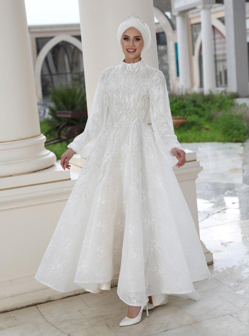 Gamze Özkul Ekru Romantik Abiye Elbise