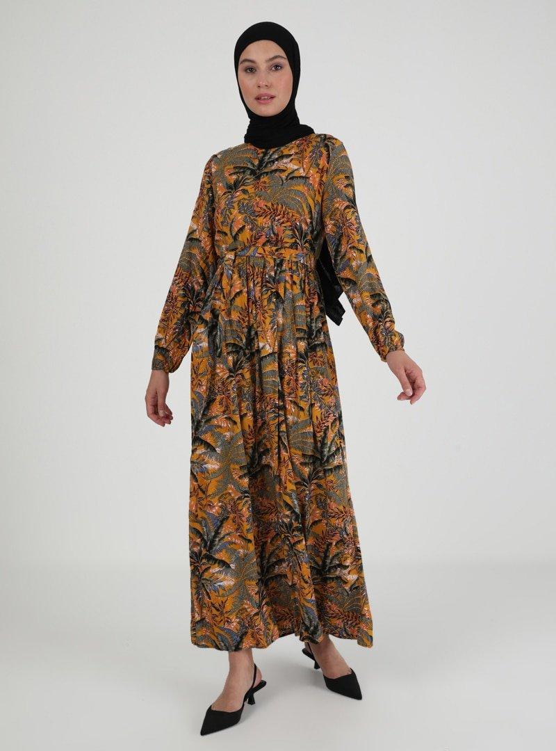 ECESUN Hardal Çiçek Desenli Elbise