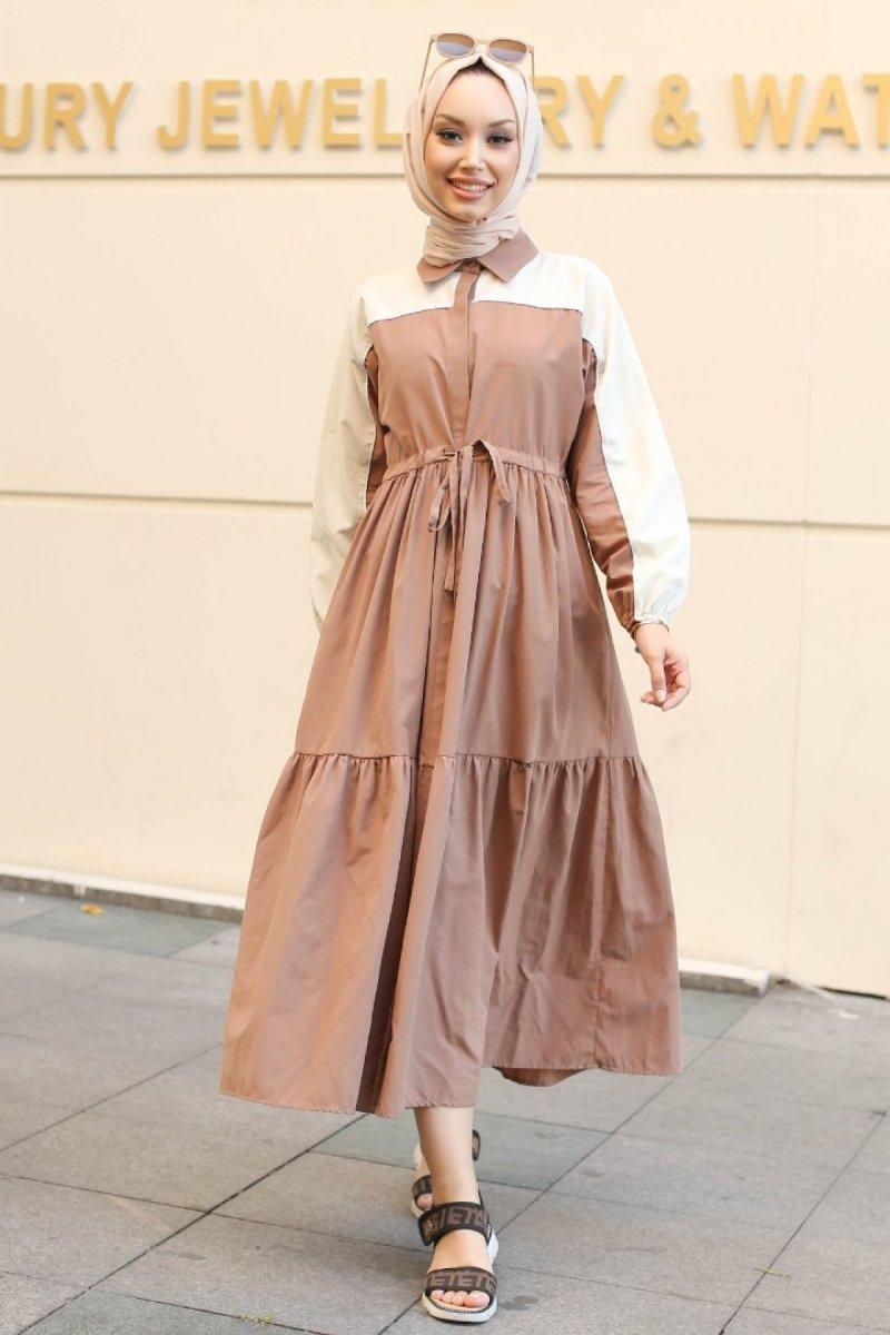 GİZCE Lavezza Açık Kahverengi Elbise