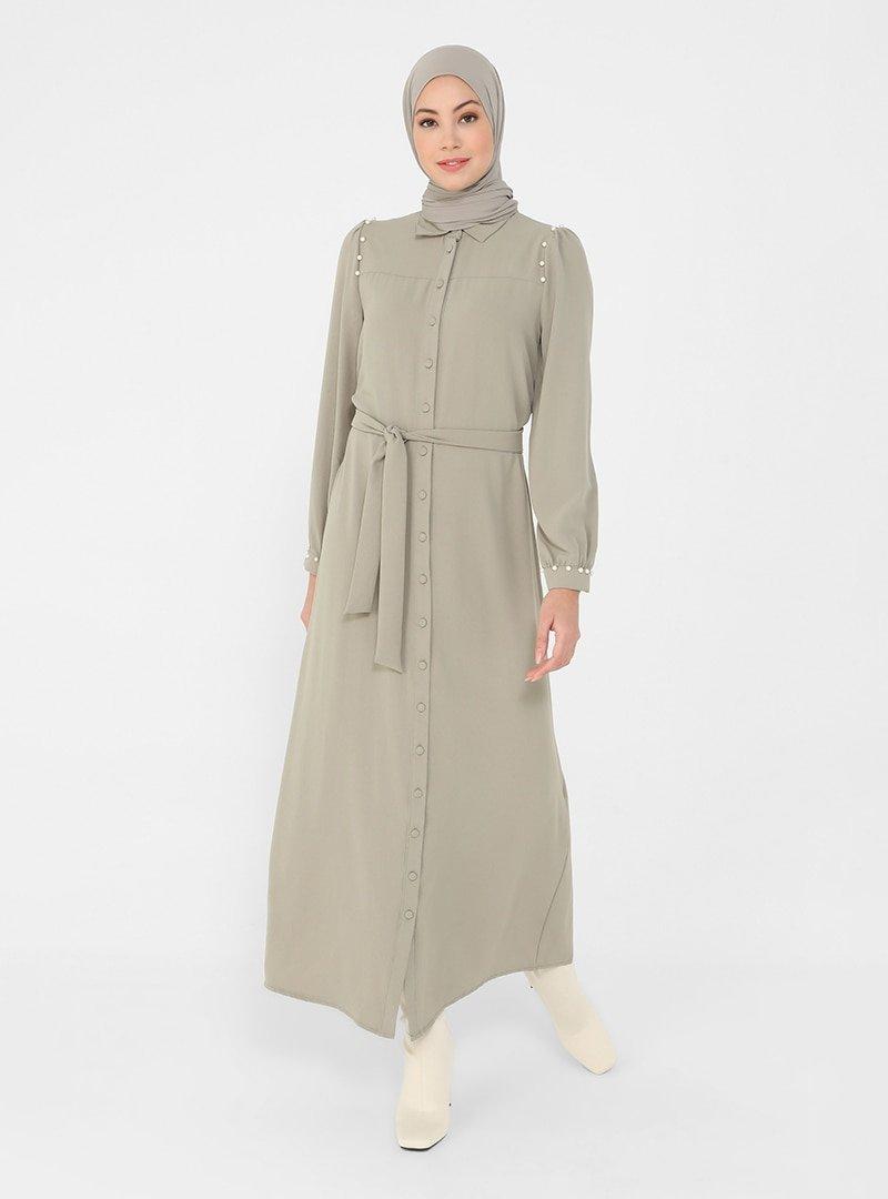 Refka Koyu Soft Yeşil Kuşaklı İnci Detaylı Aerobin Elbise