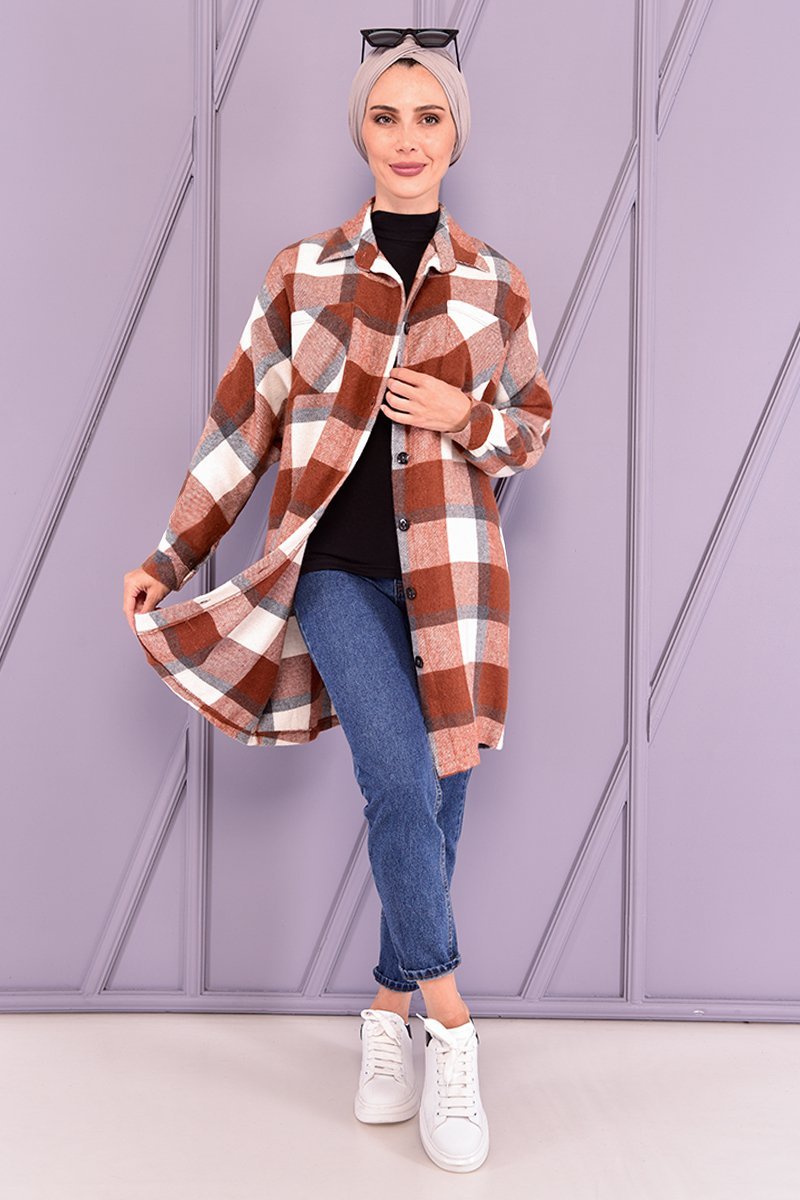 Moda Merve Kiremit Oduncu Gömlek