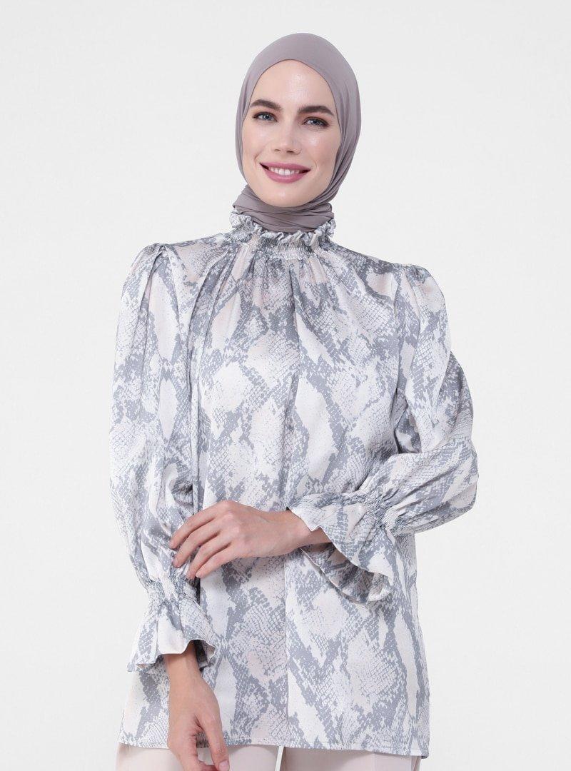 Refka Vizon Desenli Bluz