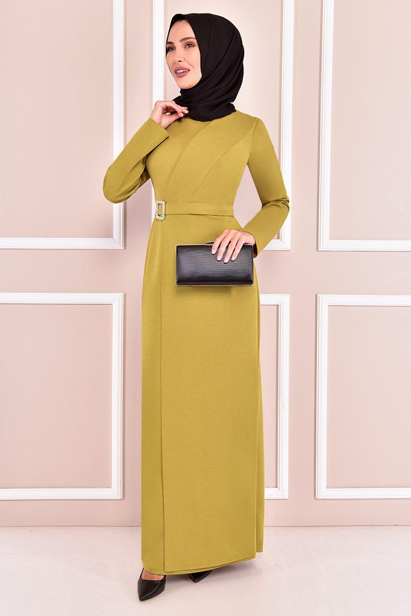 Moda Merve Yağ Yeşili Tokalı Abiye Elbise