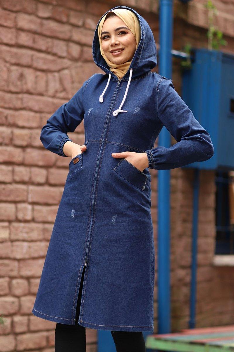 In Style Kapüşonlu Eskitme Mavi Kot Ceket