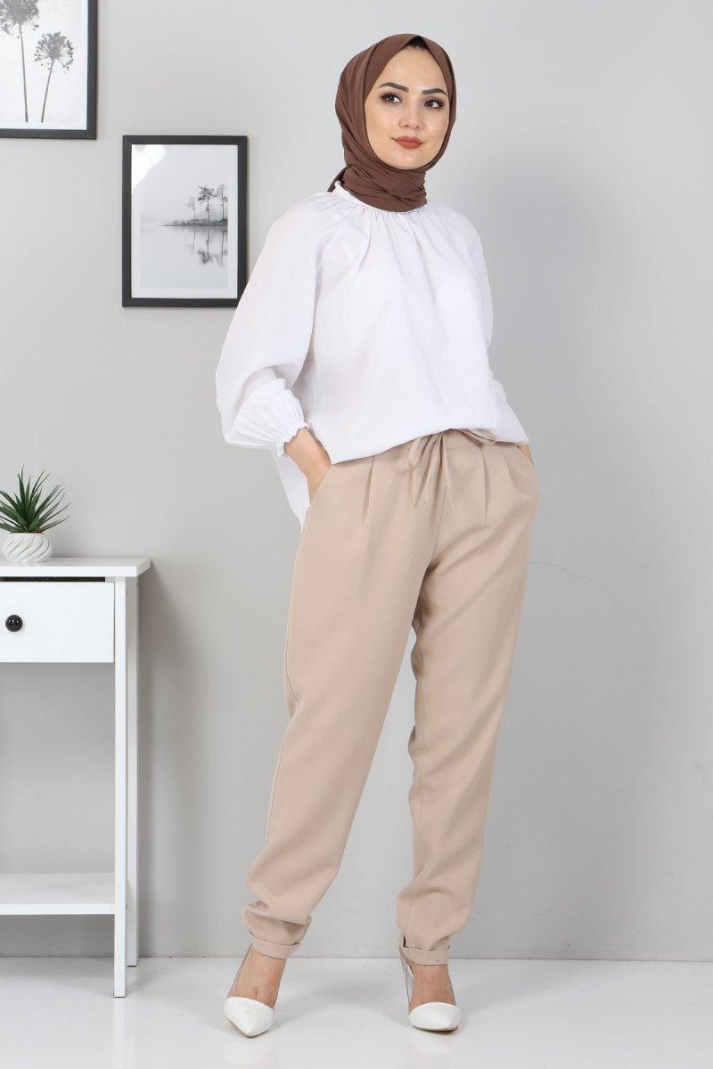 MISSVALLE Krem Lastik Detay Pantolon