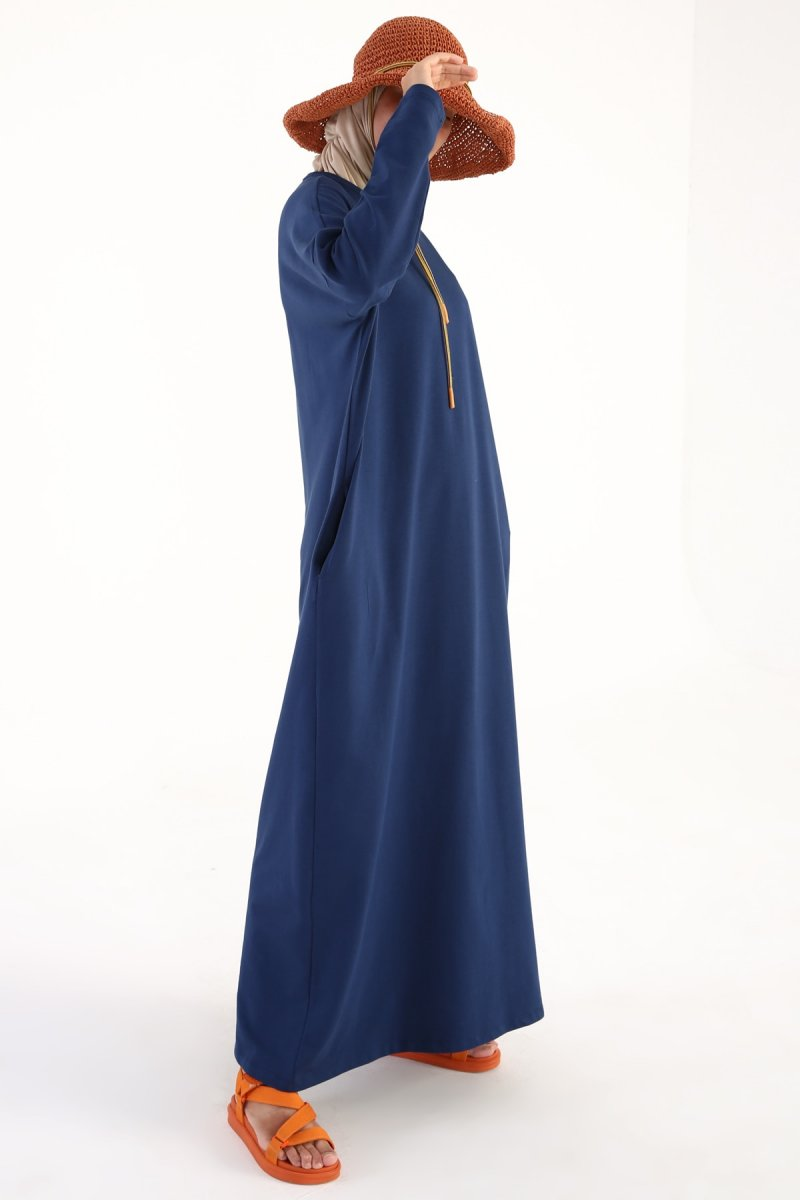 Allday Mavi Koyu Yarasa Kol Pamuklu Salaş Elbise