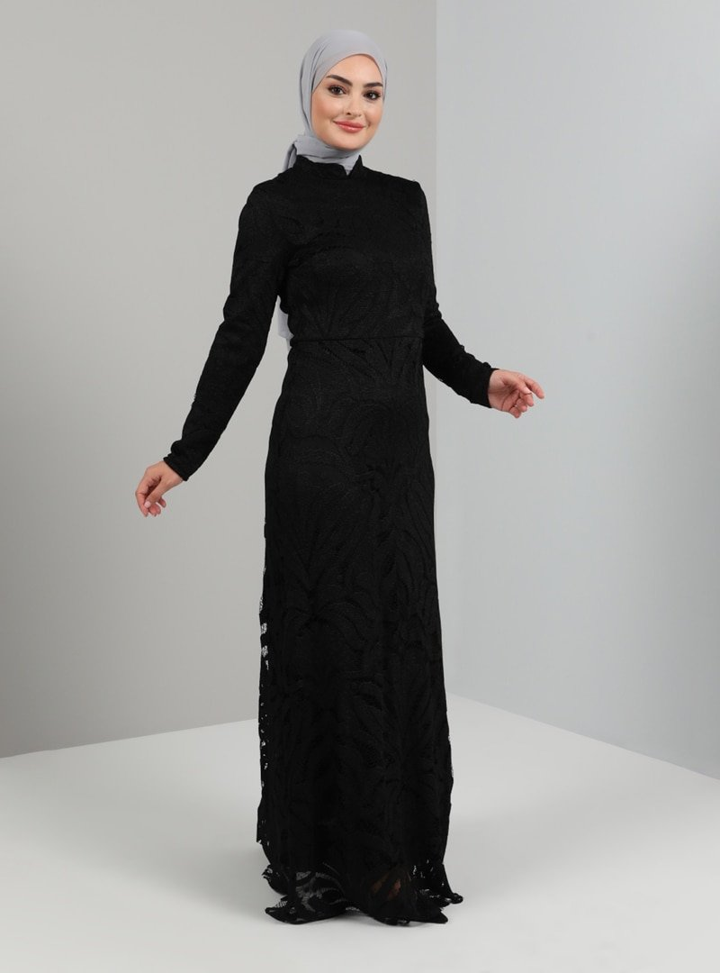 Tavin Siyah Hakim Yaka Payetli Abiye Elbise