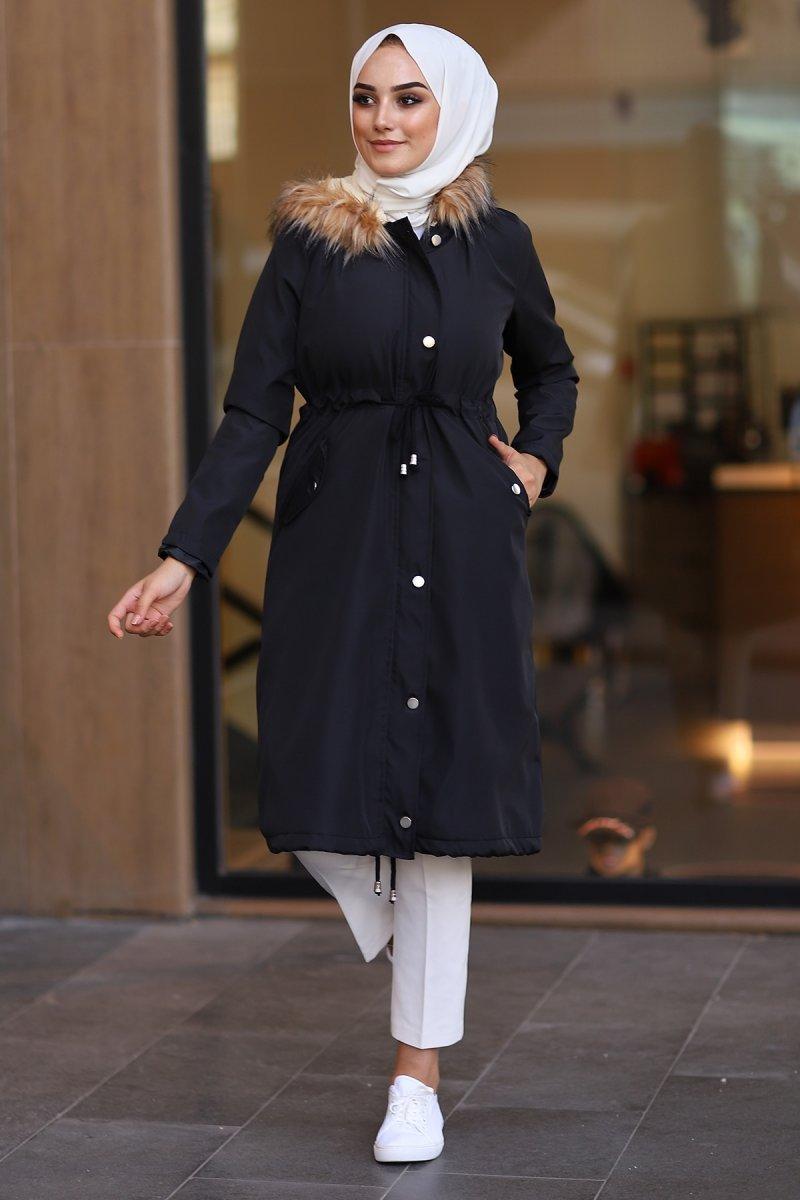 In Style Siyah İçi Polar Kürklü Kaban