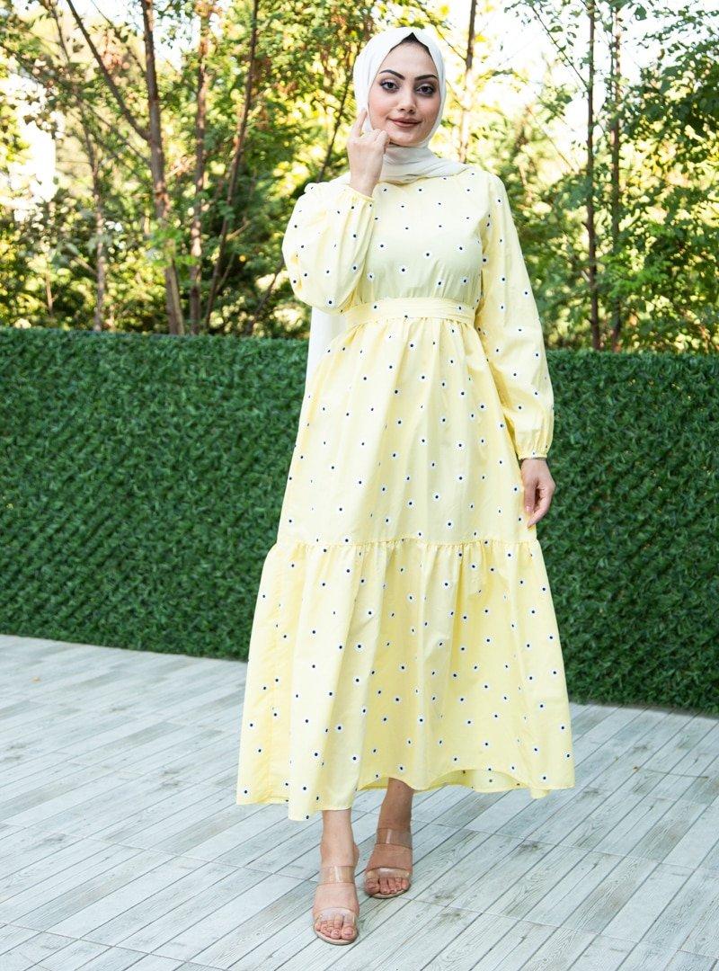 Sevit-Li Sarı Çiçek Desenli Elbise
