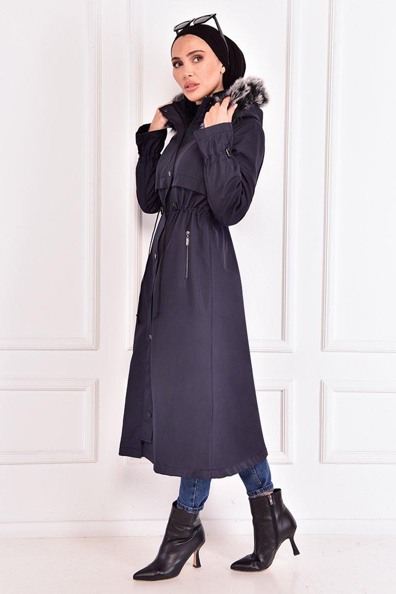 Moda Merve Lacivert Kapüşonlu Kaban