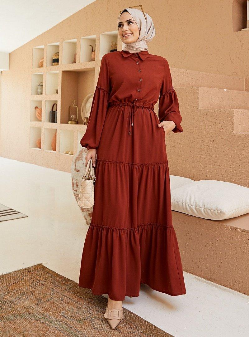 Neways Kiremit Beli Bağcıklı Elbise
