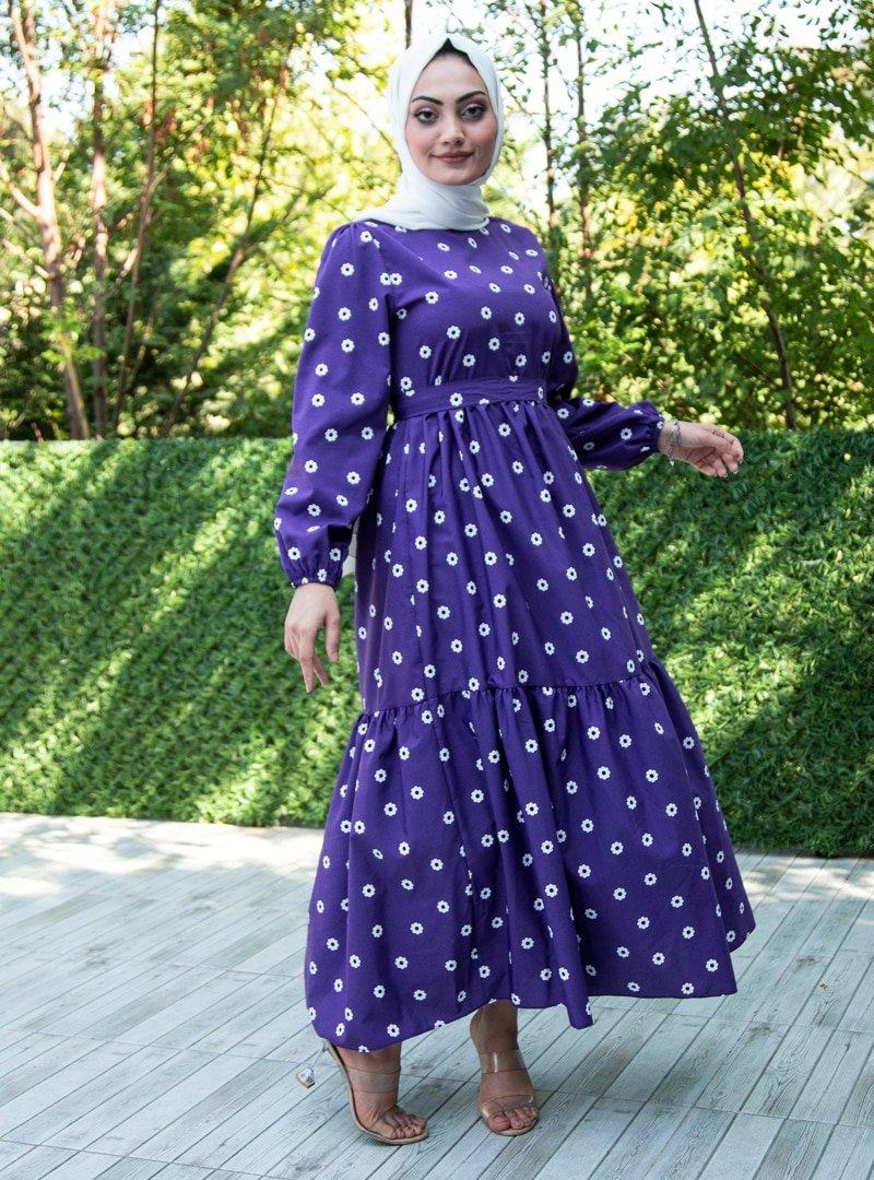 Sevit-Li Mor Çiçek Desenli Elbise