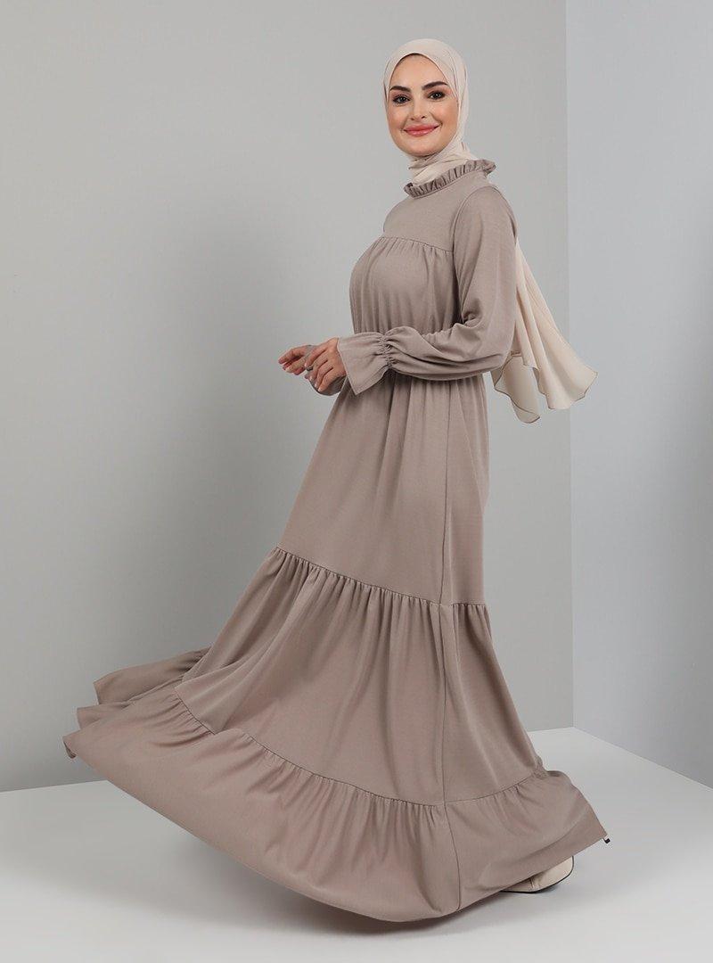 Tavin Vizon Kol Uçları Lastikli Elbise