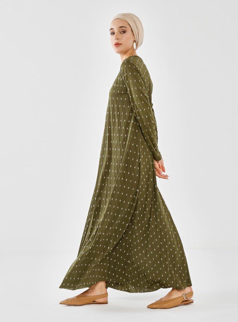 Phull Haki Piliseli Elbise