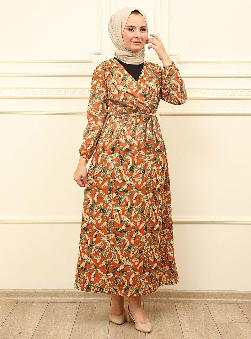 Moda Dua Kiremit Kemer Detaylı Elbise
