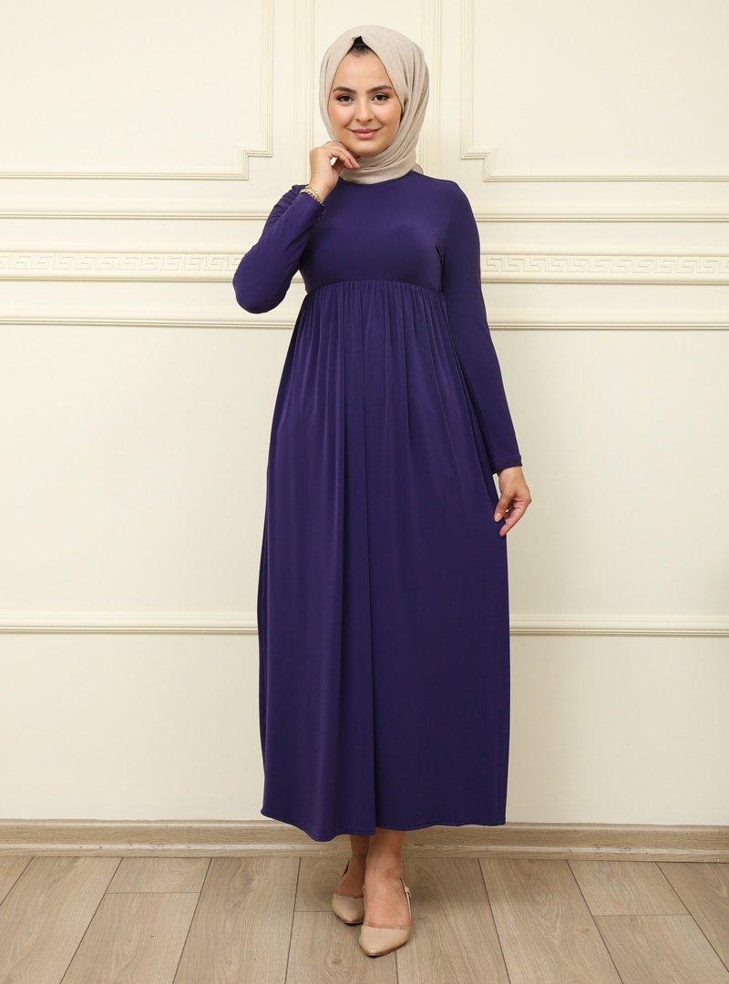 Moda Dua Mor Beli Büzgülü Elbise