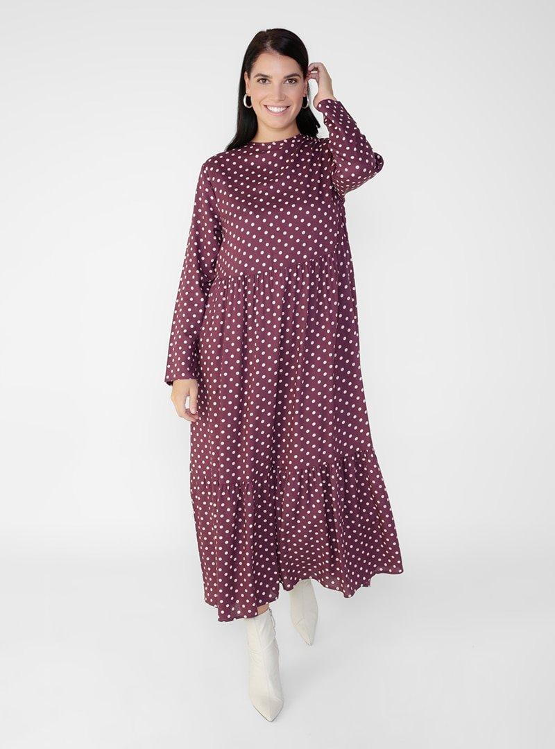 Alia Bordo Büyük Beden Doğal Kumaşlı Puantiye Desenli Elbise