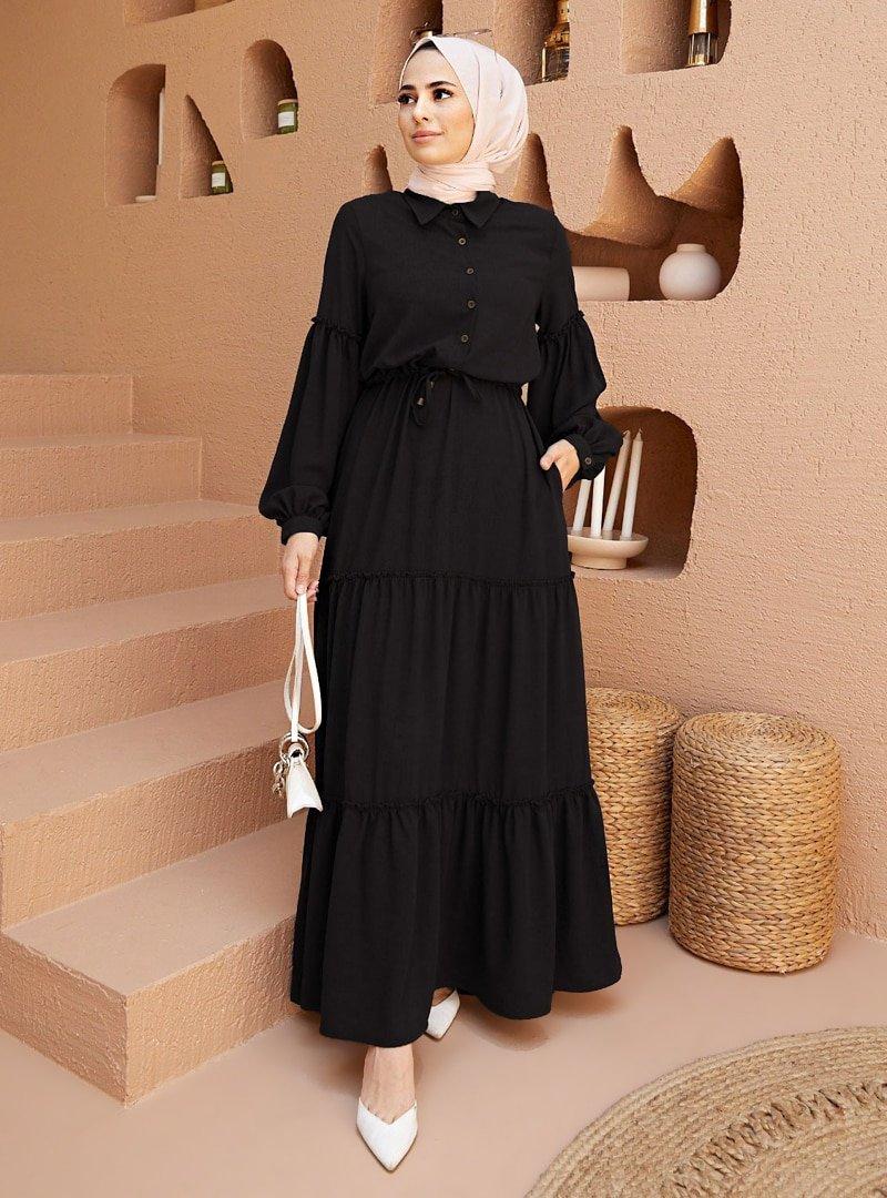 Neways Siyah Beli Bağcıklı Elbise