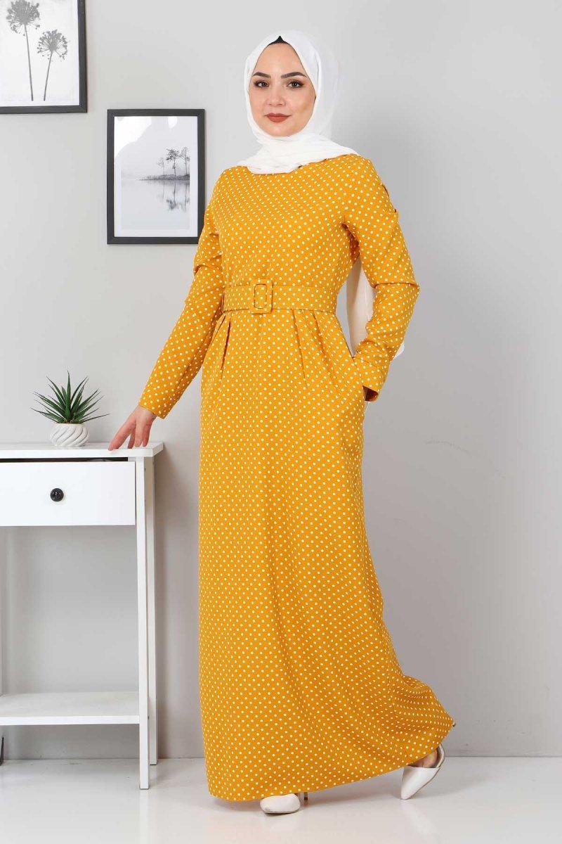 MISSVALLE Hardal Kemerli Pileli Elbise