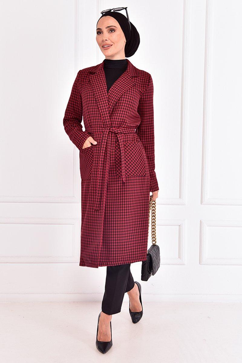Moda Merve Bordo Kuşaklı Kaban