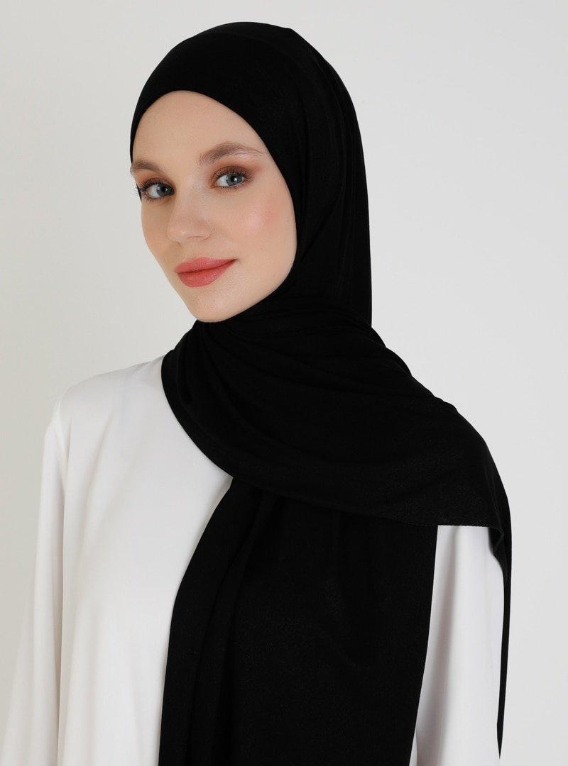 Mujerscarfs Siyah Düz Penye Şal