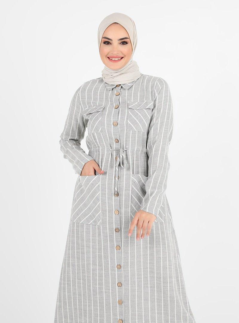 Tavin Gri Beli Bağcıklı Cep Detaylı Elbise