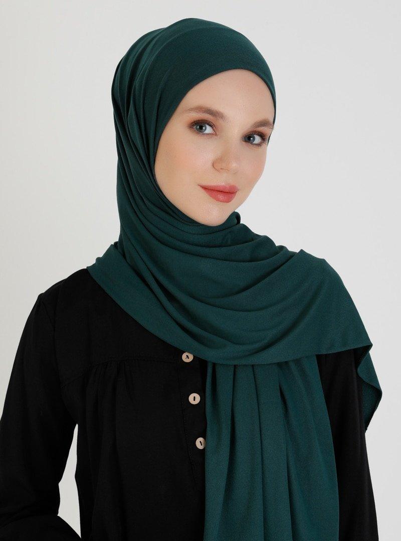 Mujerscarfs Zümrüt Yeşili Düz Penye Şal