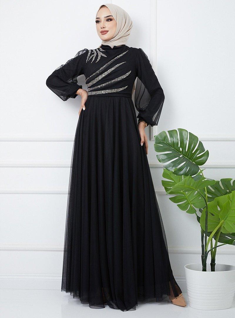 Olcay Siyah Önü Volan Ve Taş Detaylı Tüllü Abiye Elbise