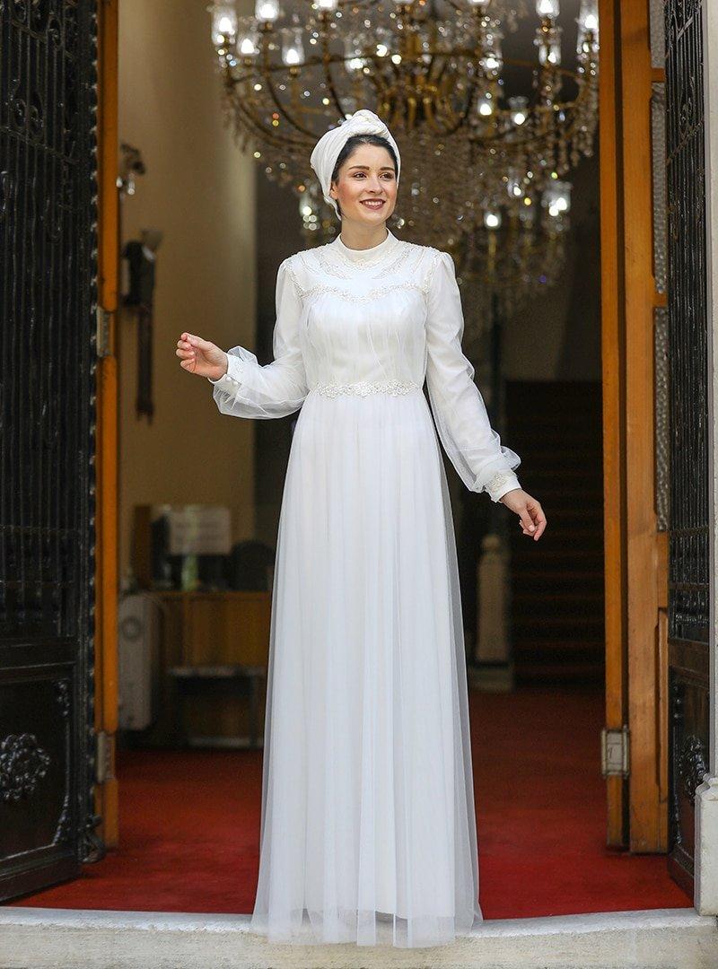 Burak Baran Fashion Ekru Gülru Abiye Elbise