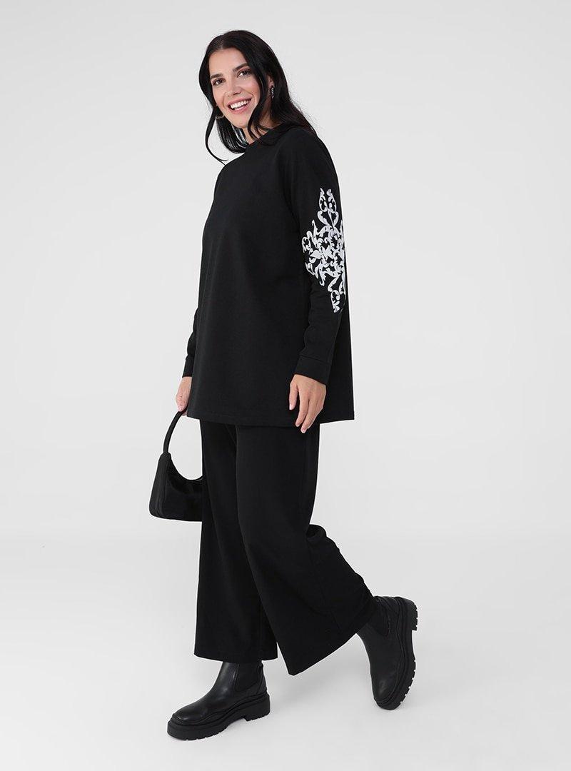 Alia Siyah Gri Büyük Beden Doğal Kumaşlı Kolları Desenli Tunik
