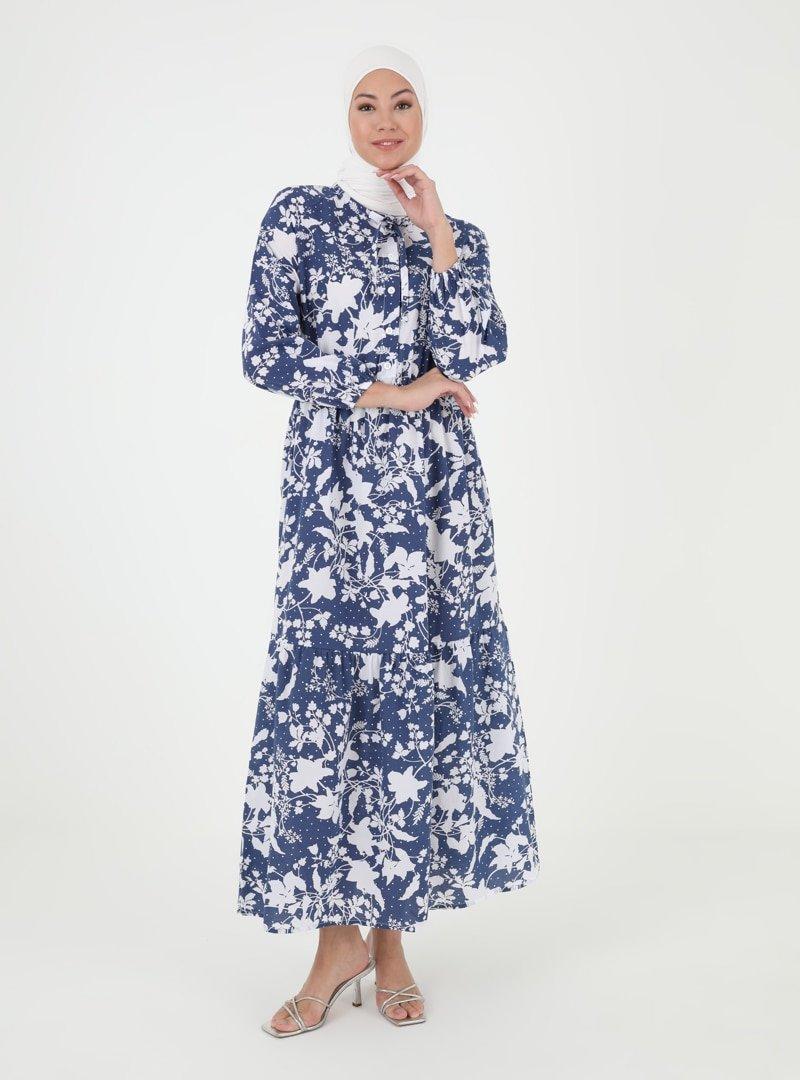 İLMEK TRİKO Lacivert Desenli Düğme Detaylı Elbise