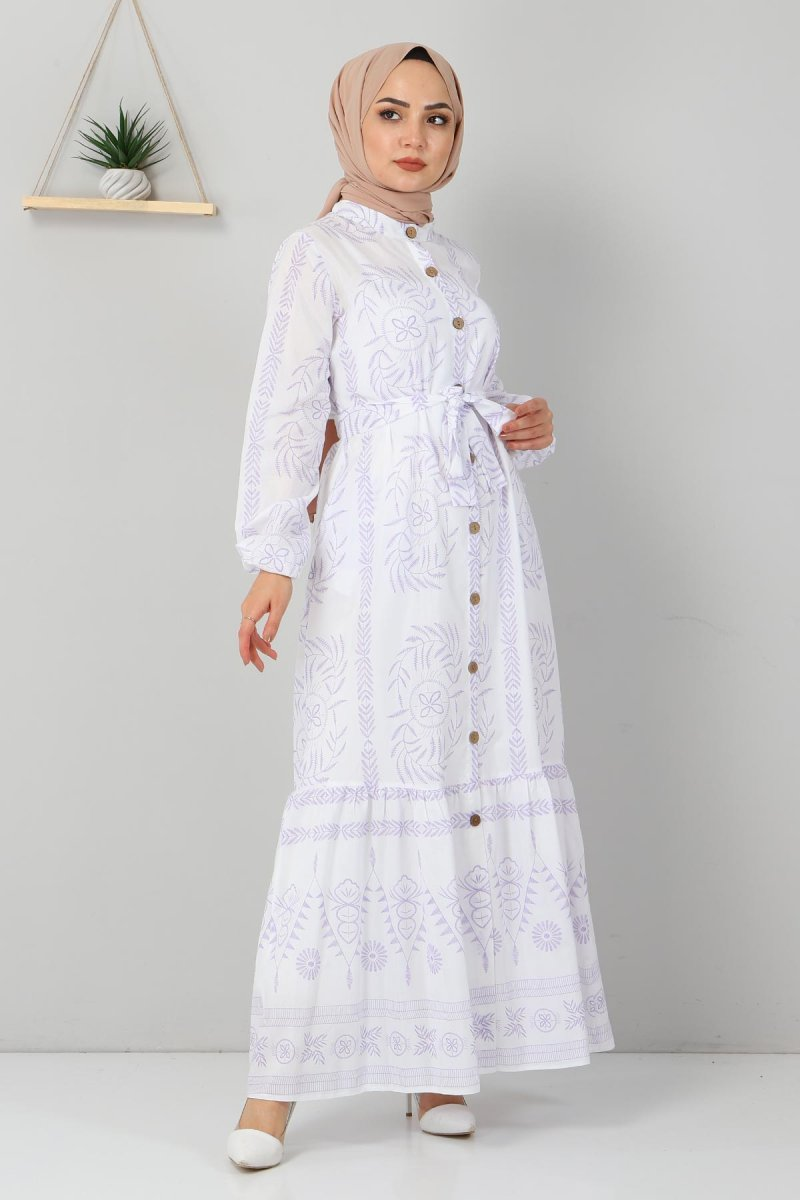 MISSVALLE Lila Düğme Detaylı Elbise